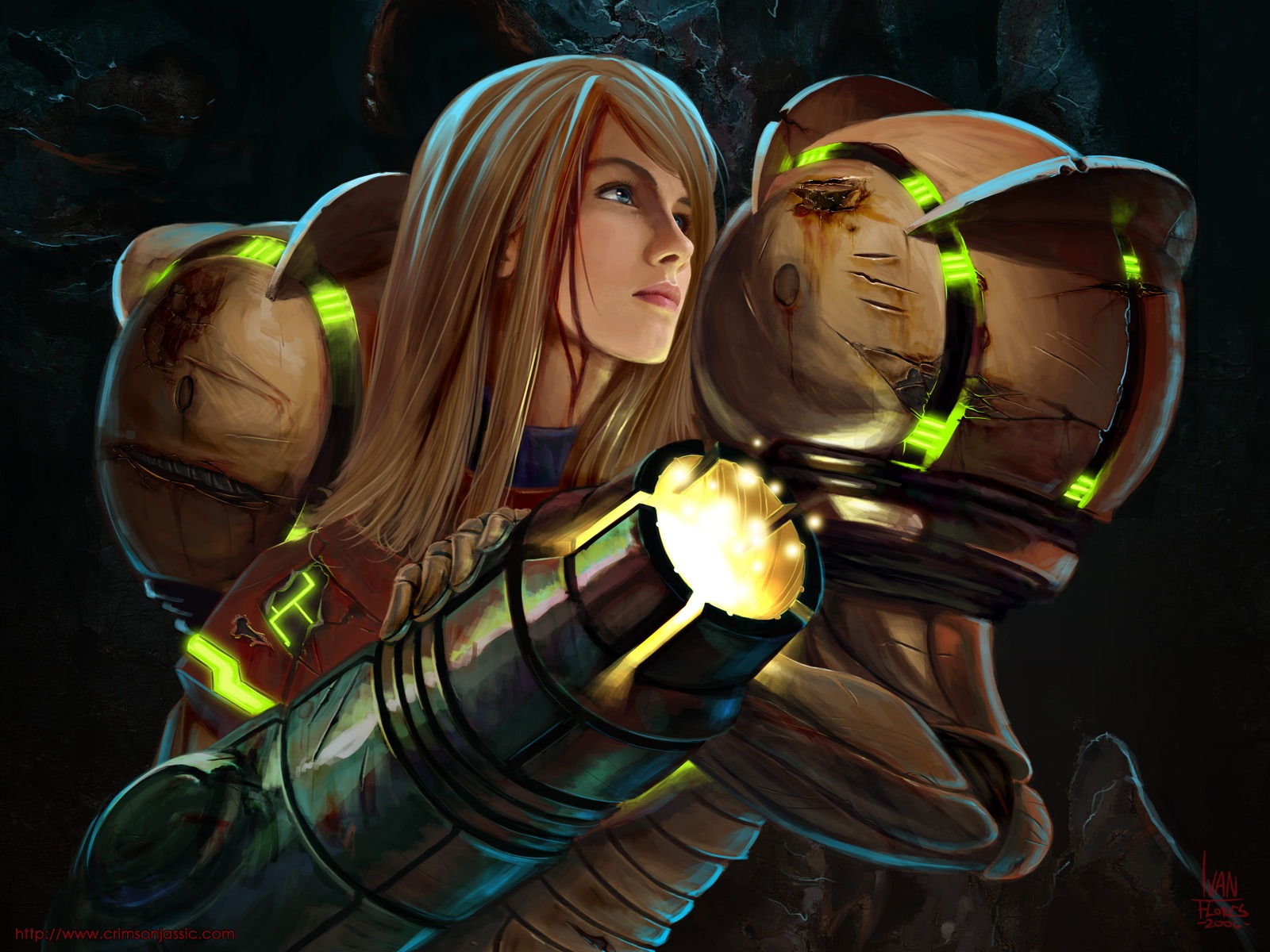 Samus as she appears in concept art of the prime series