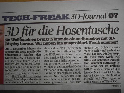 Unconfirmed: German paper touts November 11 3DS launch date